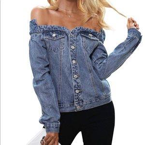 Zara (wide neck) off shoulder denim jacket